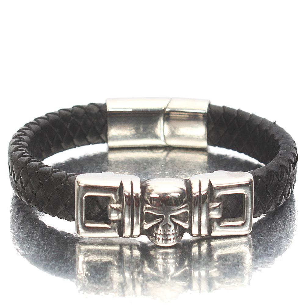 Silver Skull Black Woven Leather Bracelet