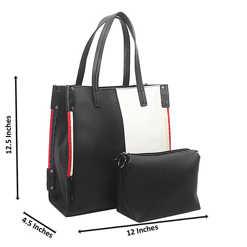 Monochrome Leather Handbag Wt Purse