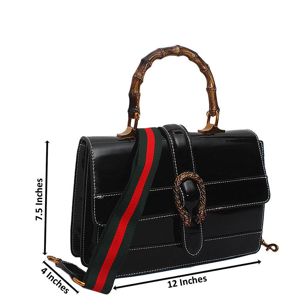 Black Patent Leather Dionysus Bag