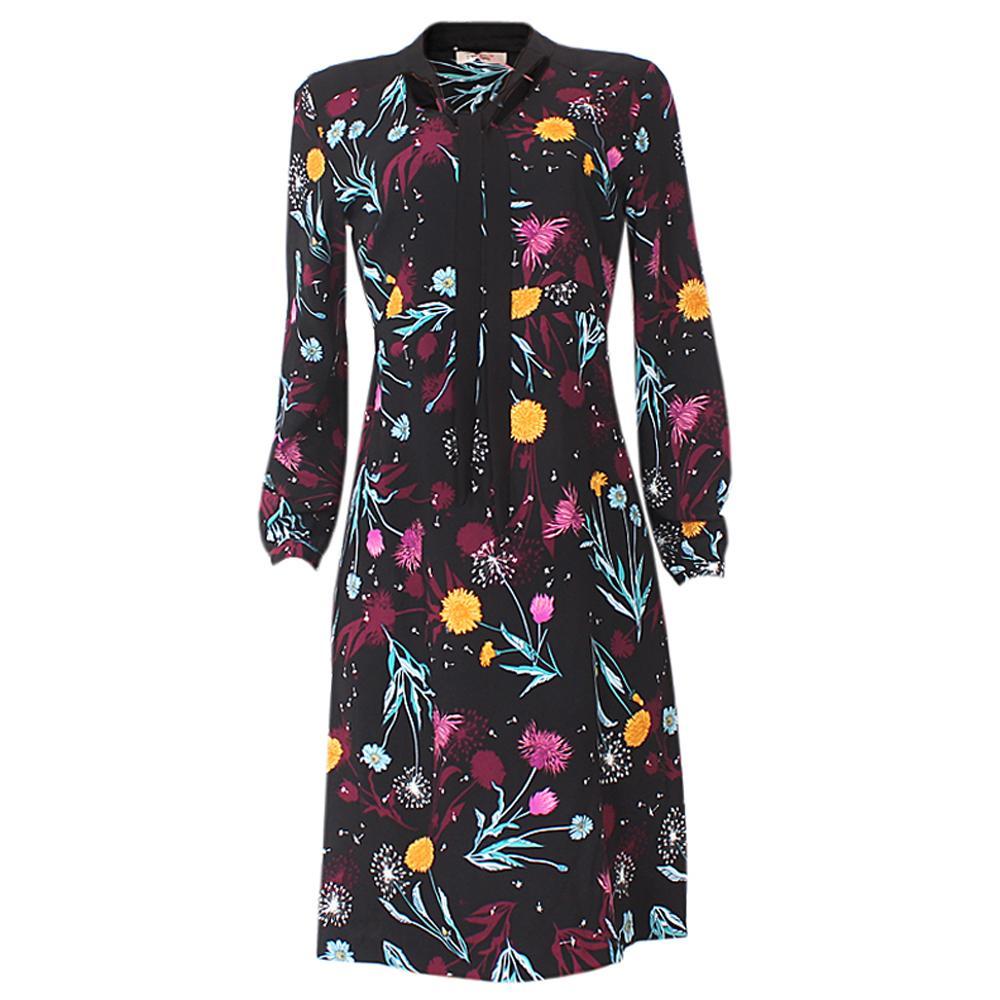 Per Una Black Dress Part - 36: Per Una Black Floral Print Cotton L/Sleeve Dress
