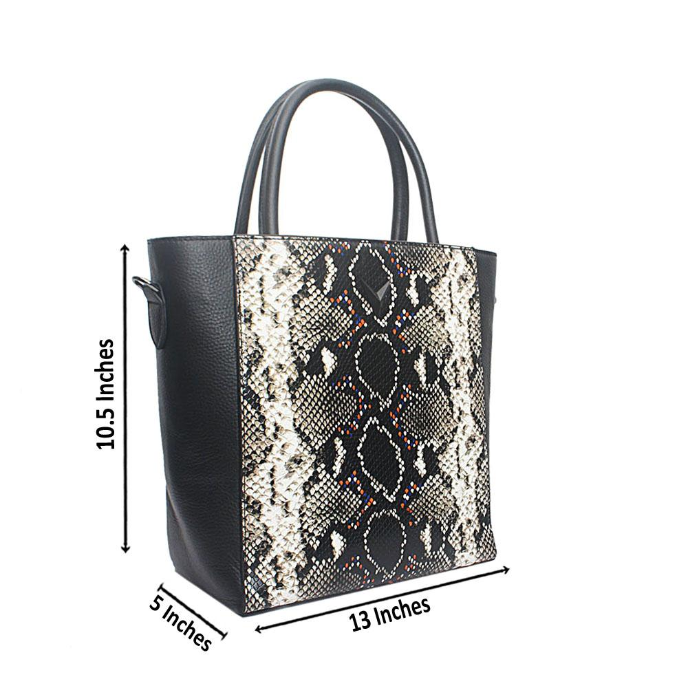 Black Narrow Animal Skin Saffiano Leather GJG Handbag