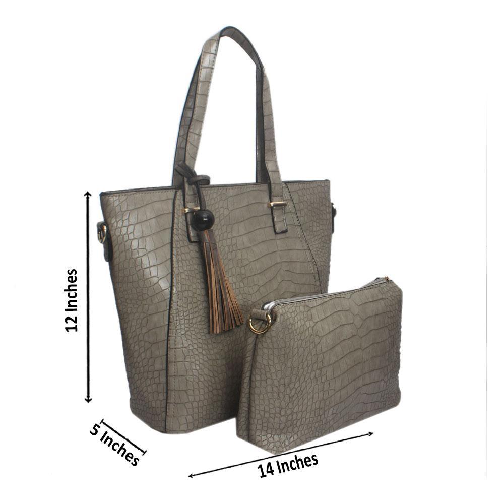 Grey Croc Leather Shoulder Bag