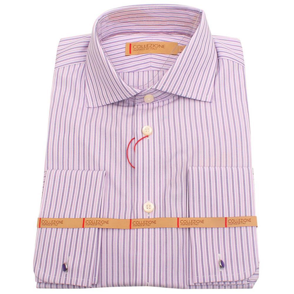 Collezione Purple Lilac Striped L/Sleeve Men Shirt Wt Cuffs