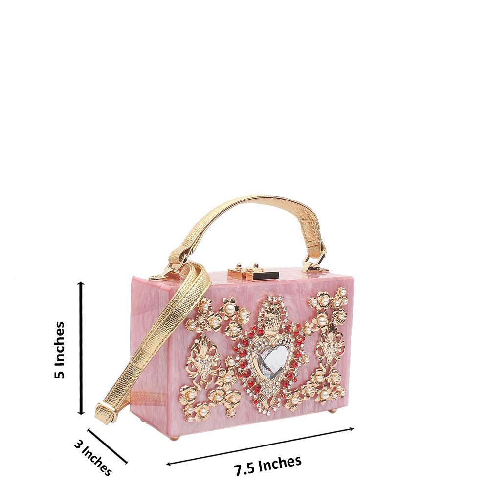 Barbie Pink Studded Classic BB Plastic Box Bag