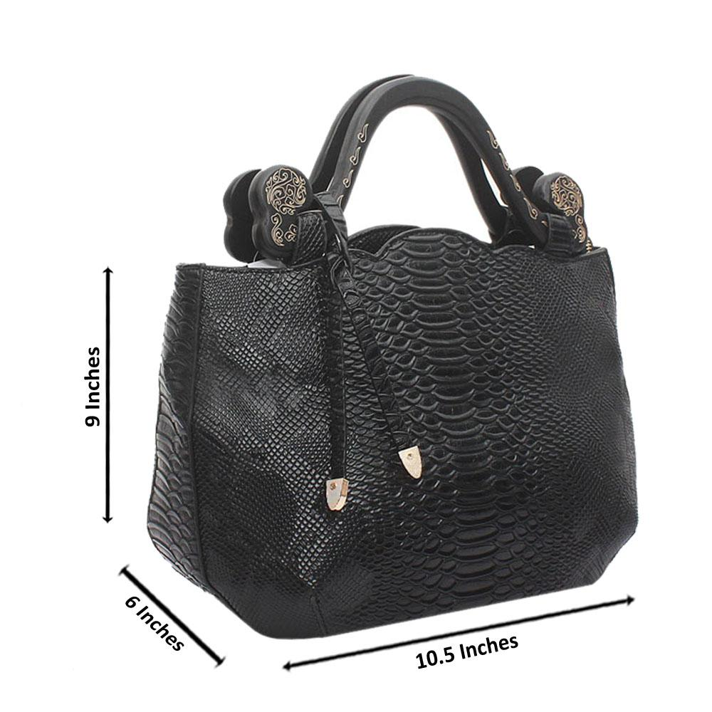 Black Croc Leather Sunset Wooden Handle Bag
