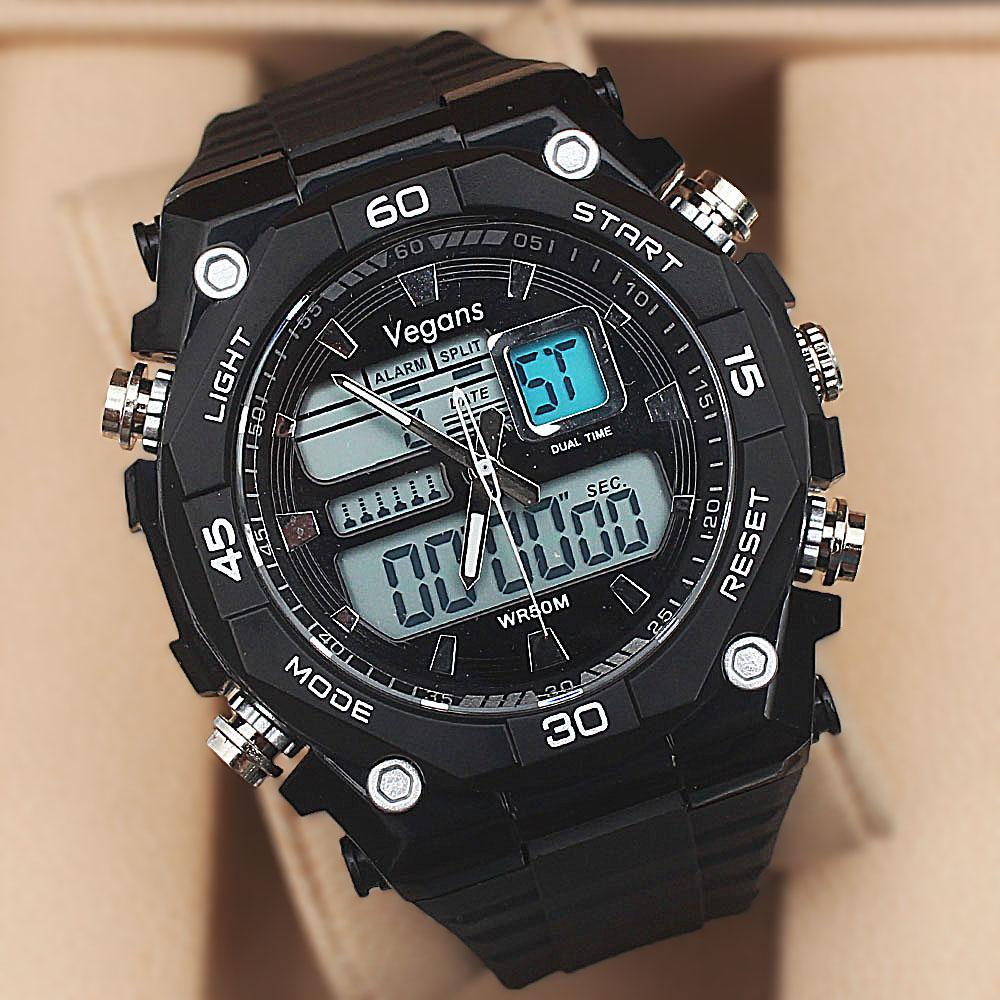 Vegans Black White Screw Dual Time Watch wt Extra Straps