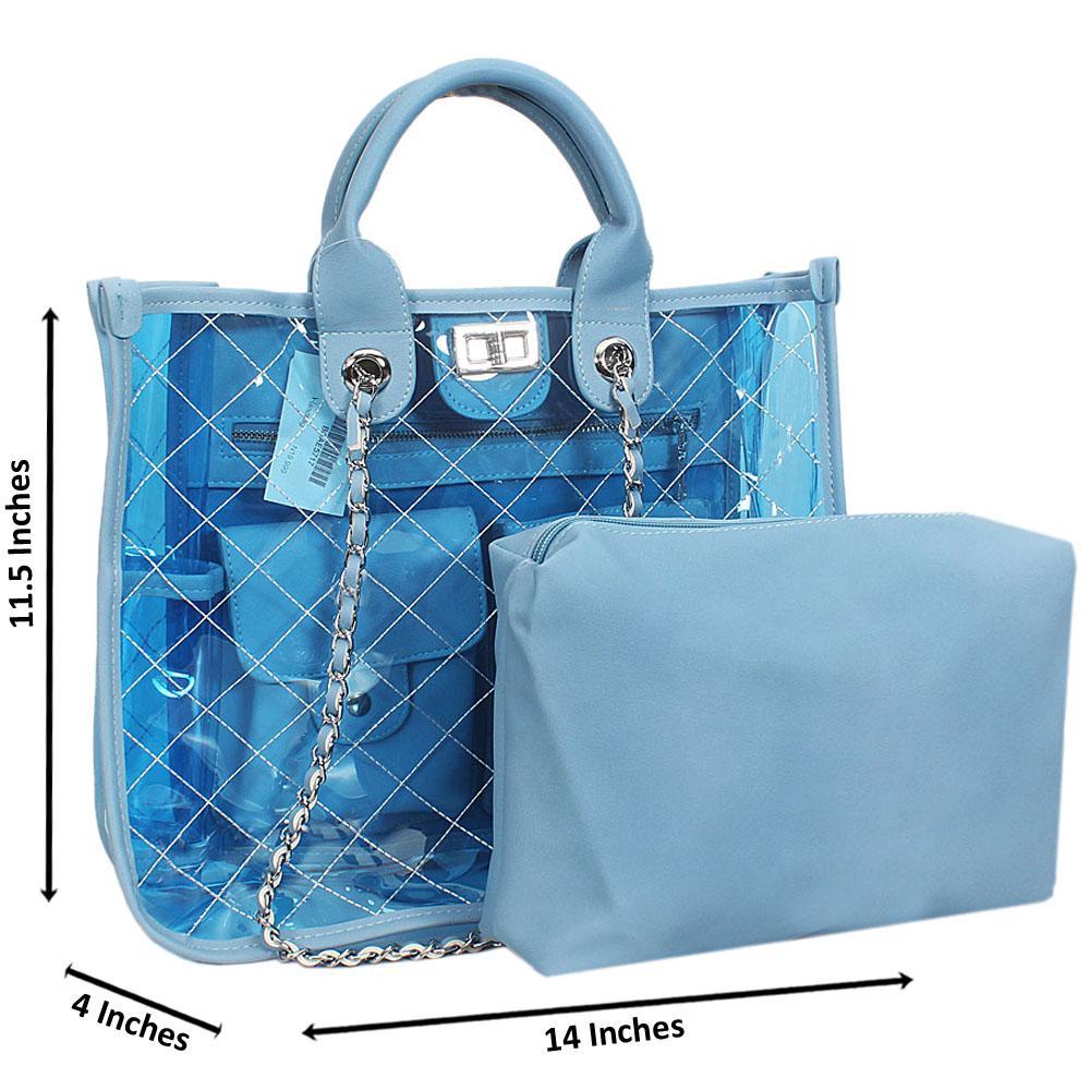 Blue Morgan Transparent Rubber Leather Tote Handbag