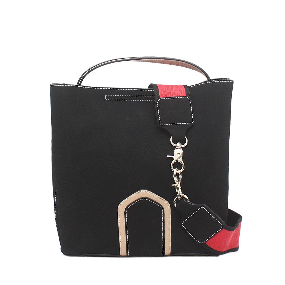 London Style Black Suede Leather Handbag