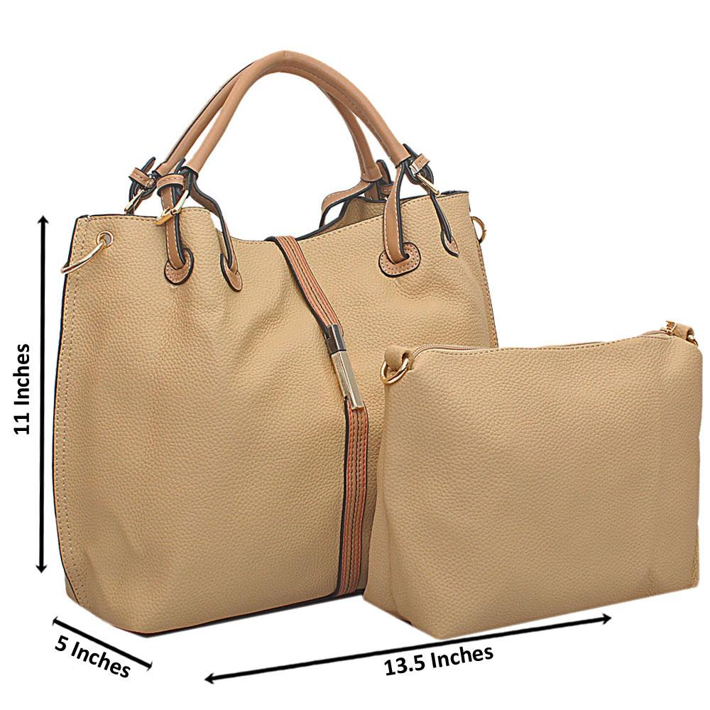Khaki Oxygen Leather Tote Handbag Wt Minor Peeling