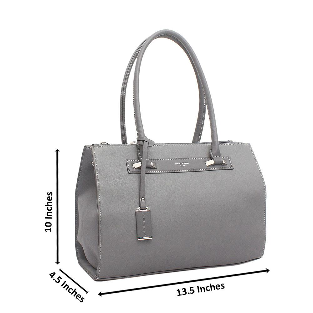David Jones Grey Leather Handbag