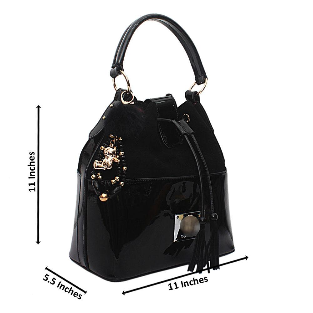 Black Suede Patent Calfskin Leather Handbag