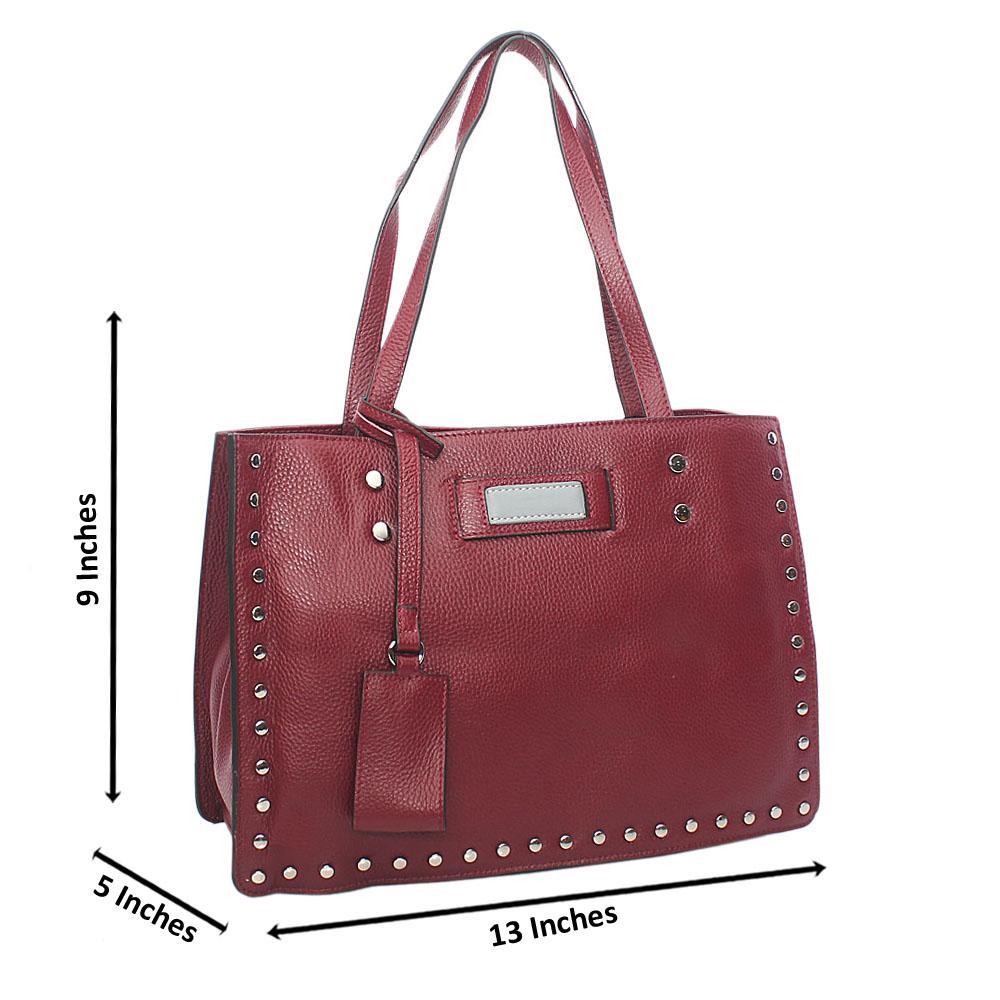 Rose Purple Studded Shoulder Tuscany Leather Handbag
