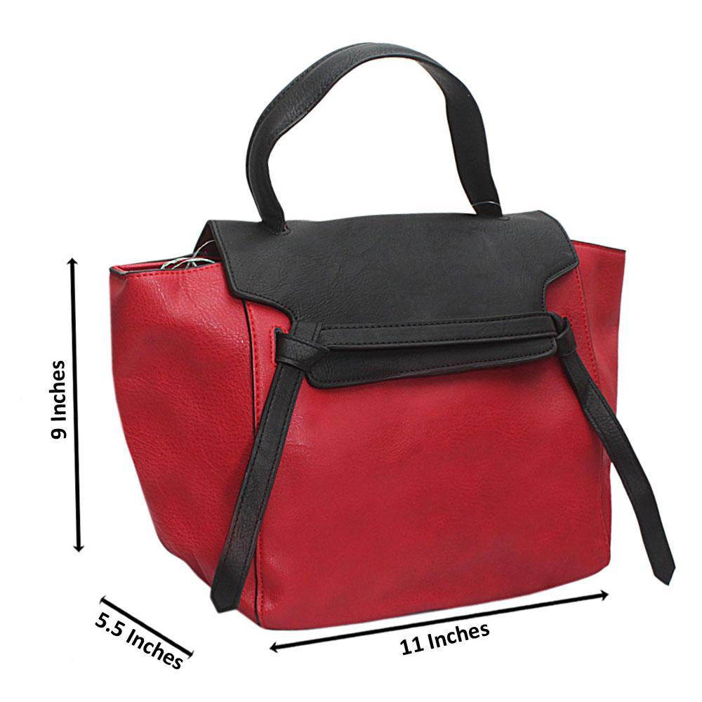 Black Red Leather Medium Belt Handbag