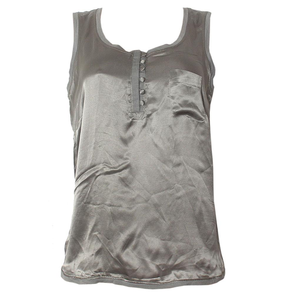 M&S Autograph Army Green Silk Ladies Armless Top-UK12