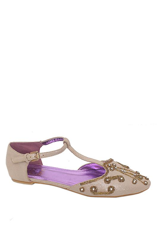 Dolce Vita Beige Sequins Leather Studded Flat Shoe