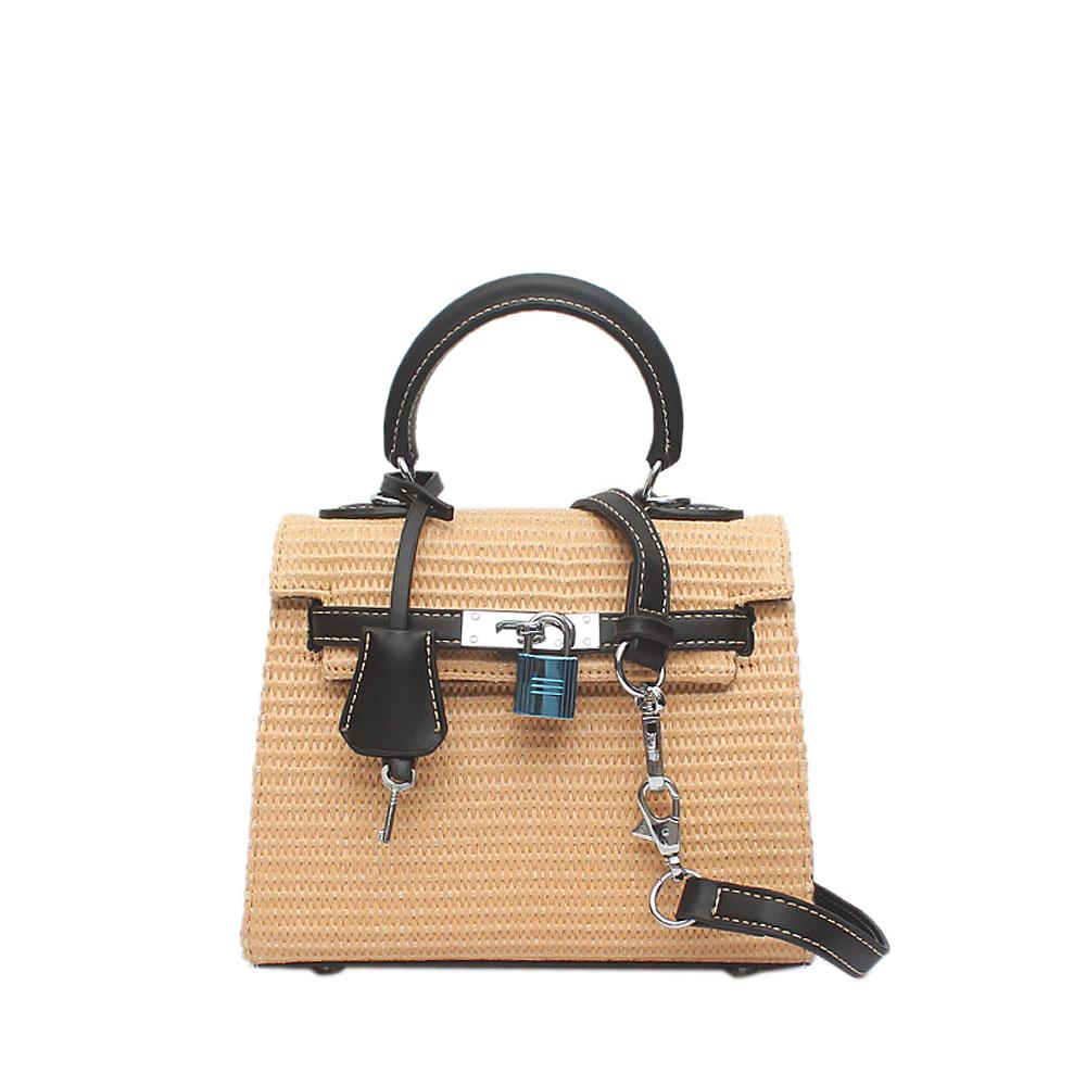 Cream Black Woven Leather Mini Matte Bag