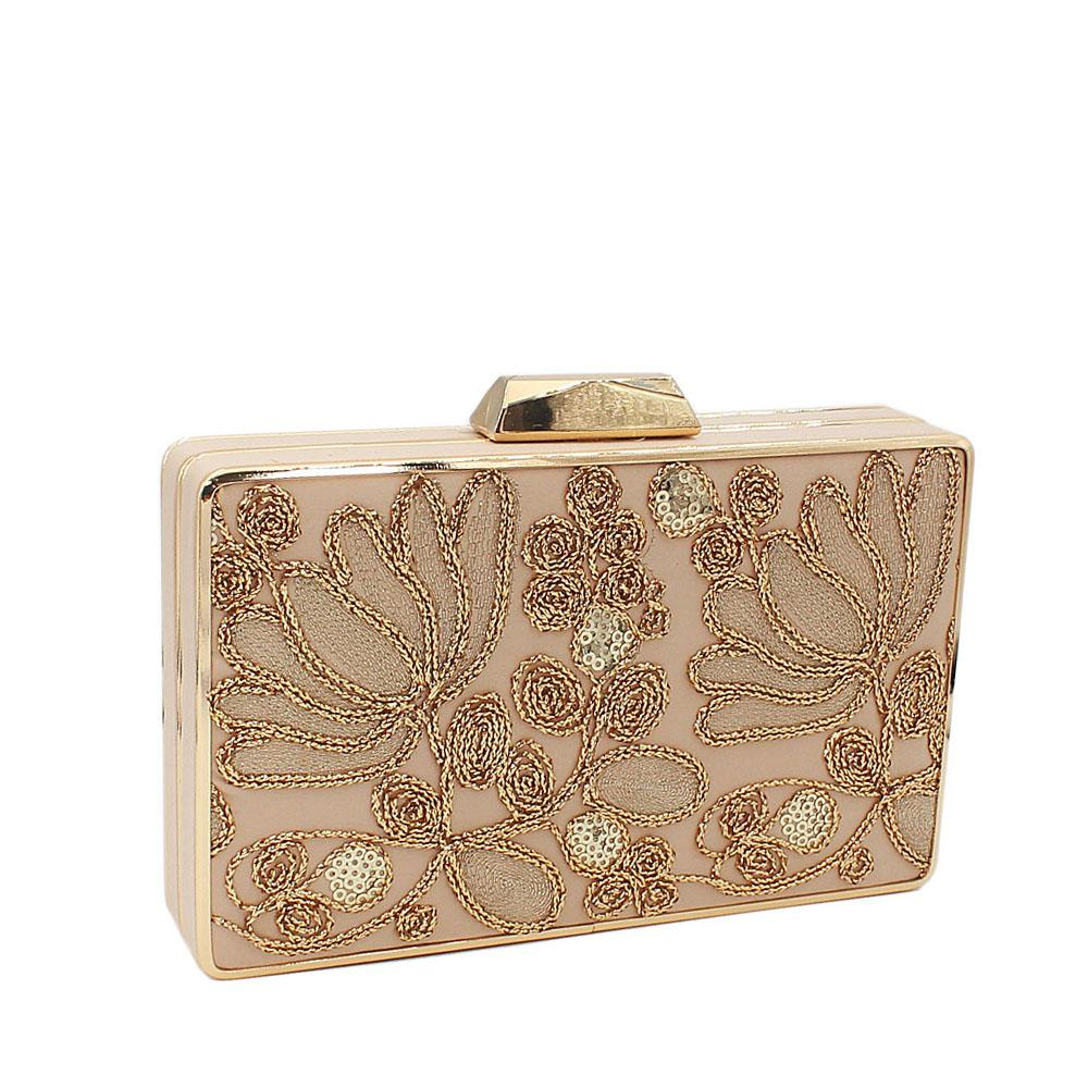 Gold Sequins Fabric Clutch Purse
