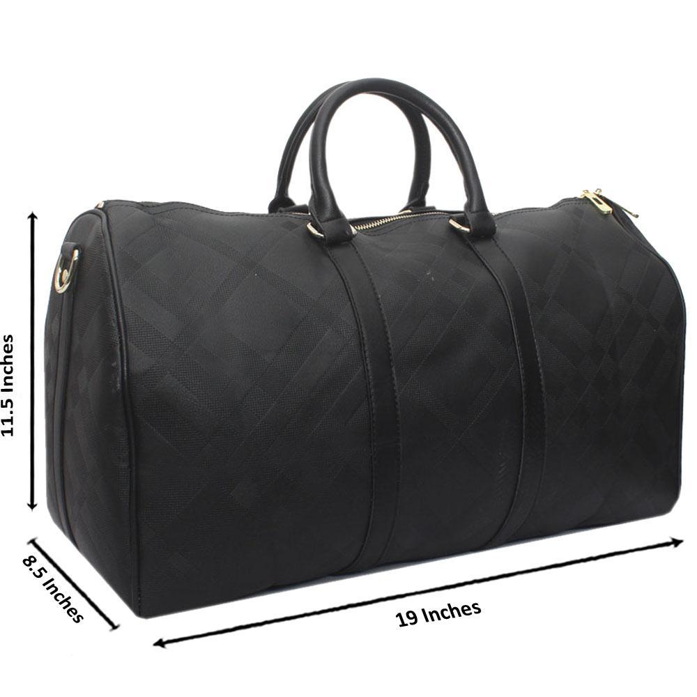 Black Leather Large Haymarket Bowling Bag