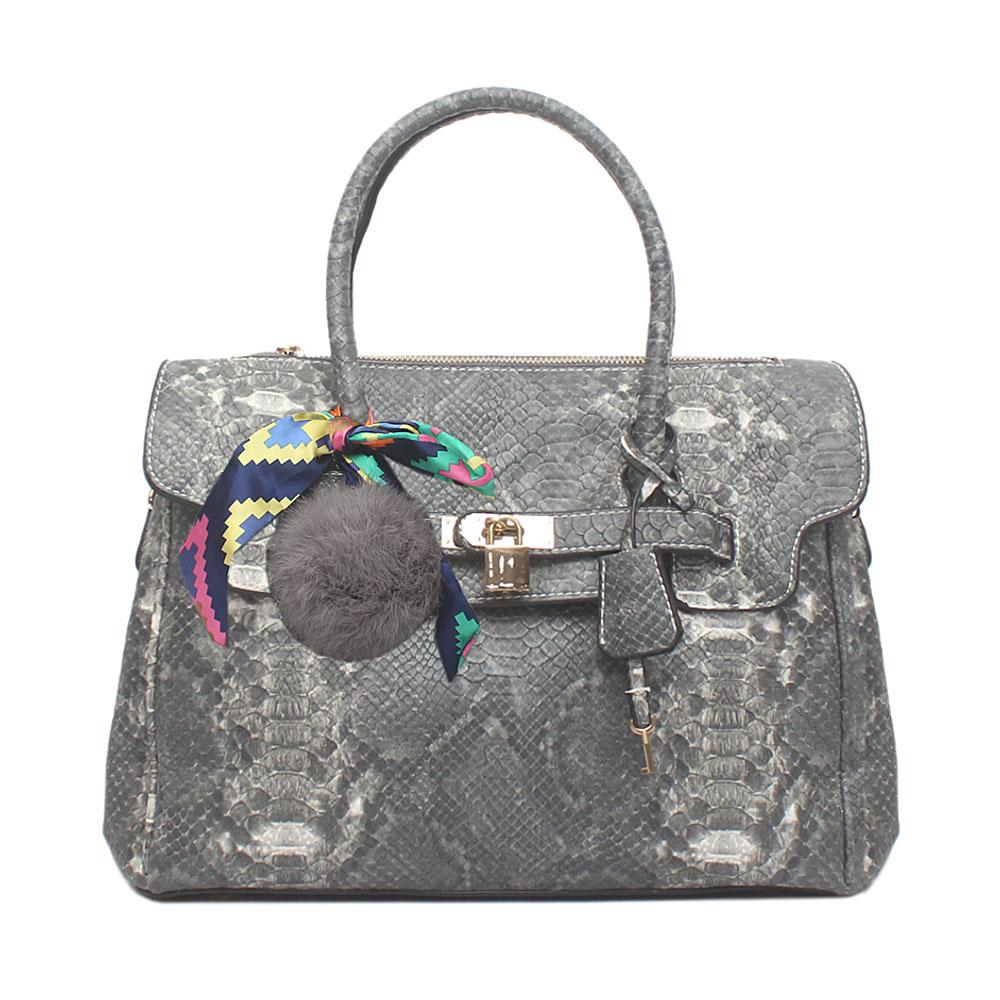 London Style Grey Mix Leather Tote Bag