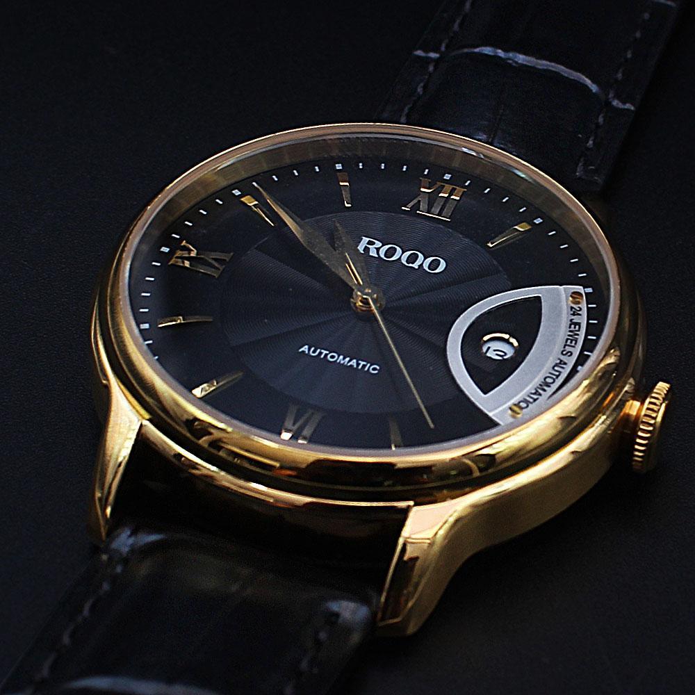 Twenty Four Jewels Gold Case Black Leather Automatic Classic Watch