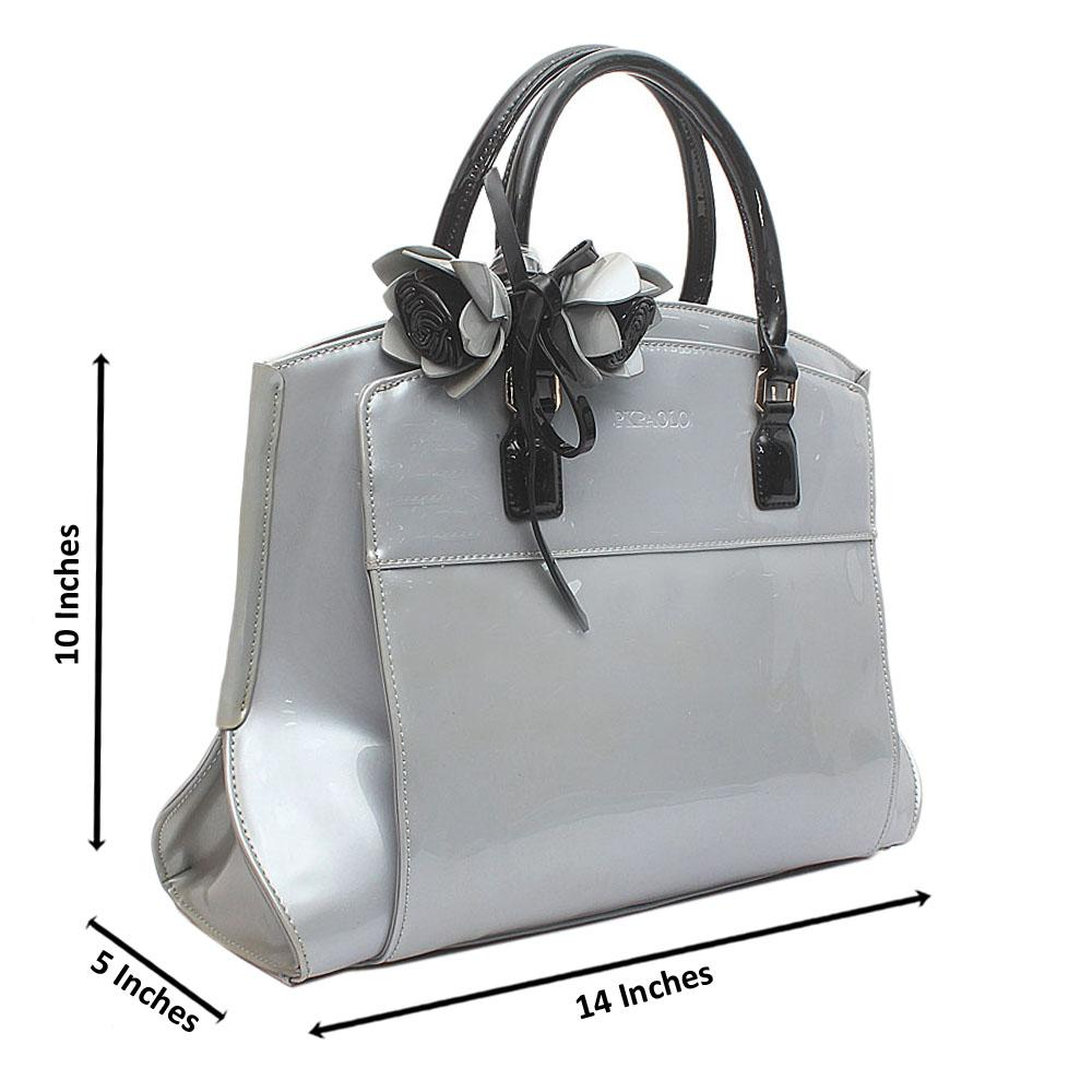 Grey Best Medium Patent Leather Tote Handbag