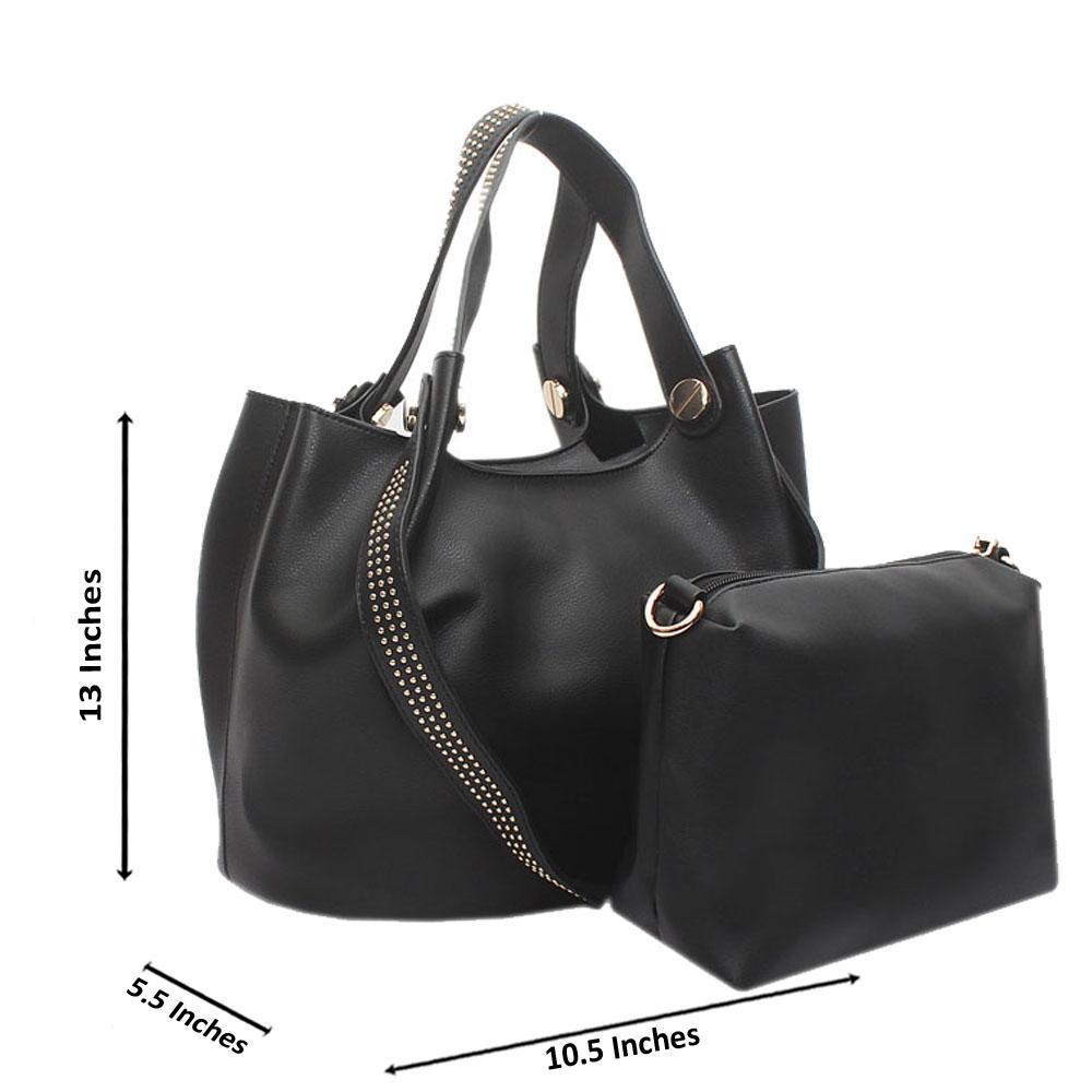 Black Studded Leather Shoulder Handbag