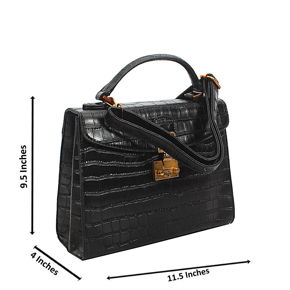 Black Croc Leather Top Handle Handbag