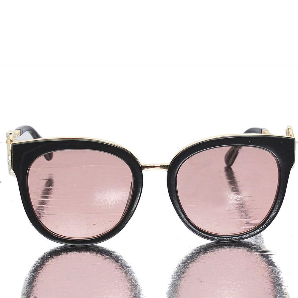 Gold Black Round Face Dark Lens Sunglasses