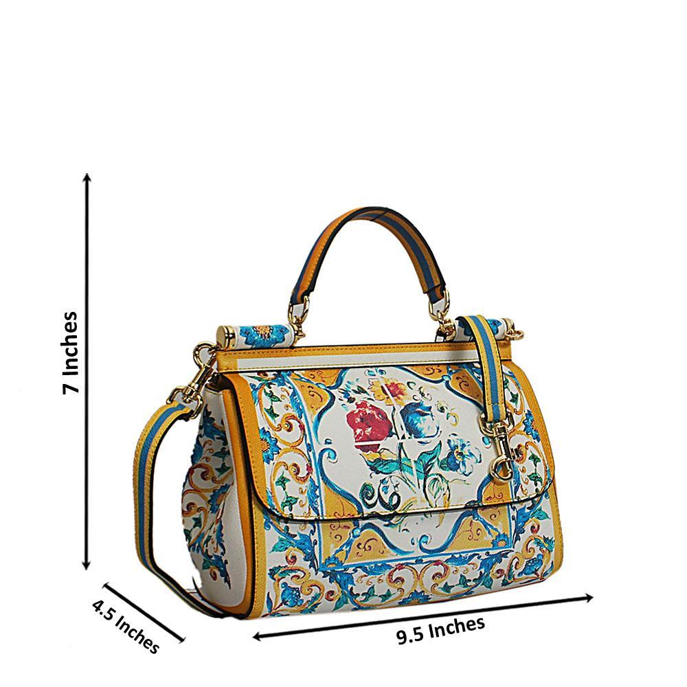 Yellow Vintage Multicolor Cow Leather Small Top Handle Handbag