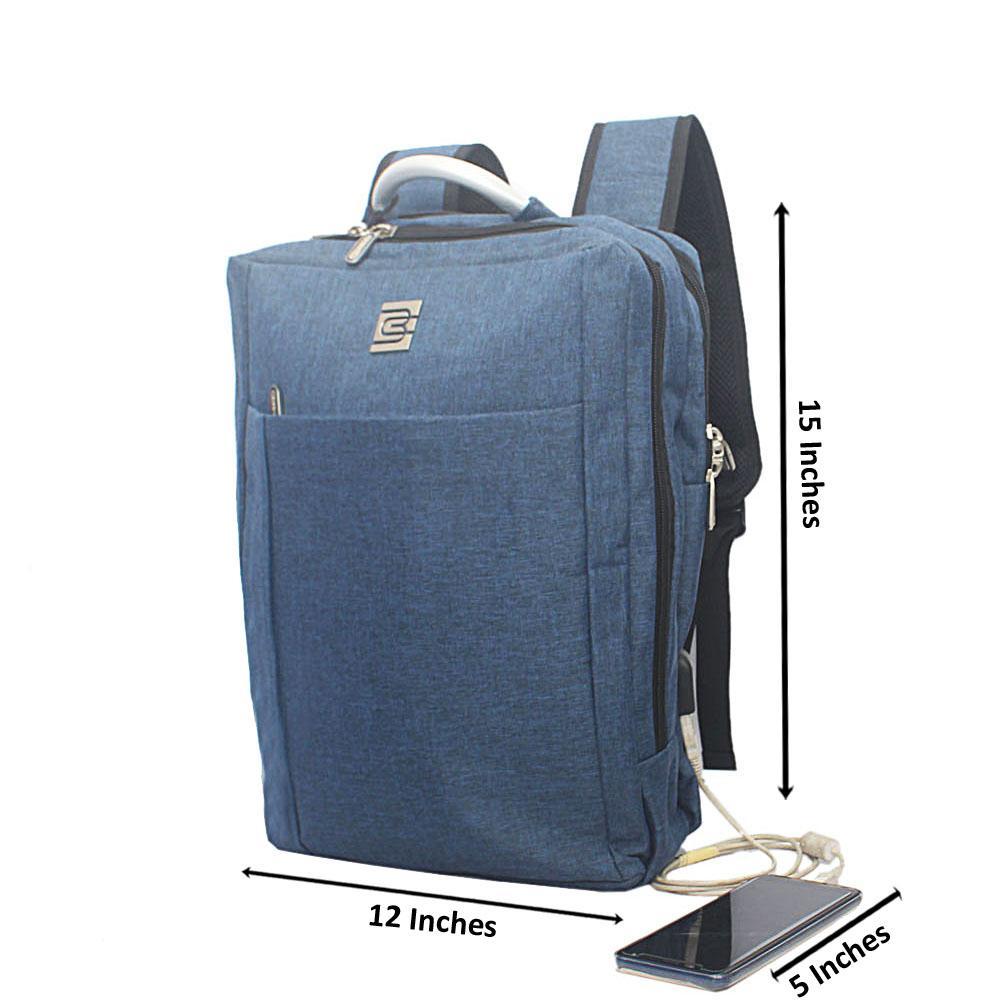 Blue External Bruno Cavali Backpack wt USB Connector