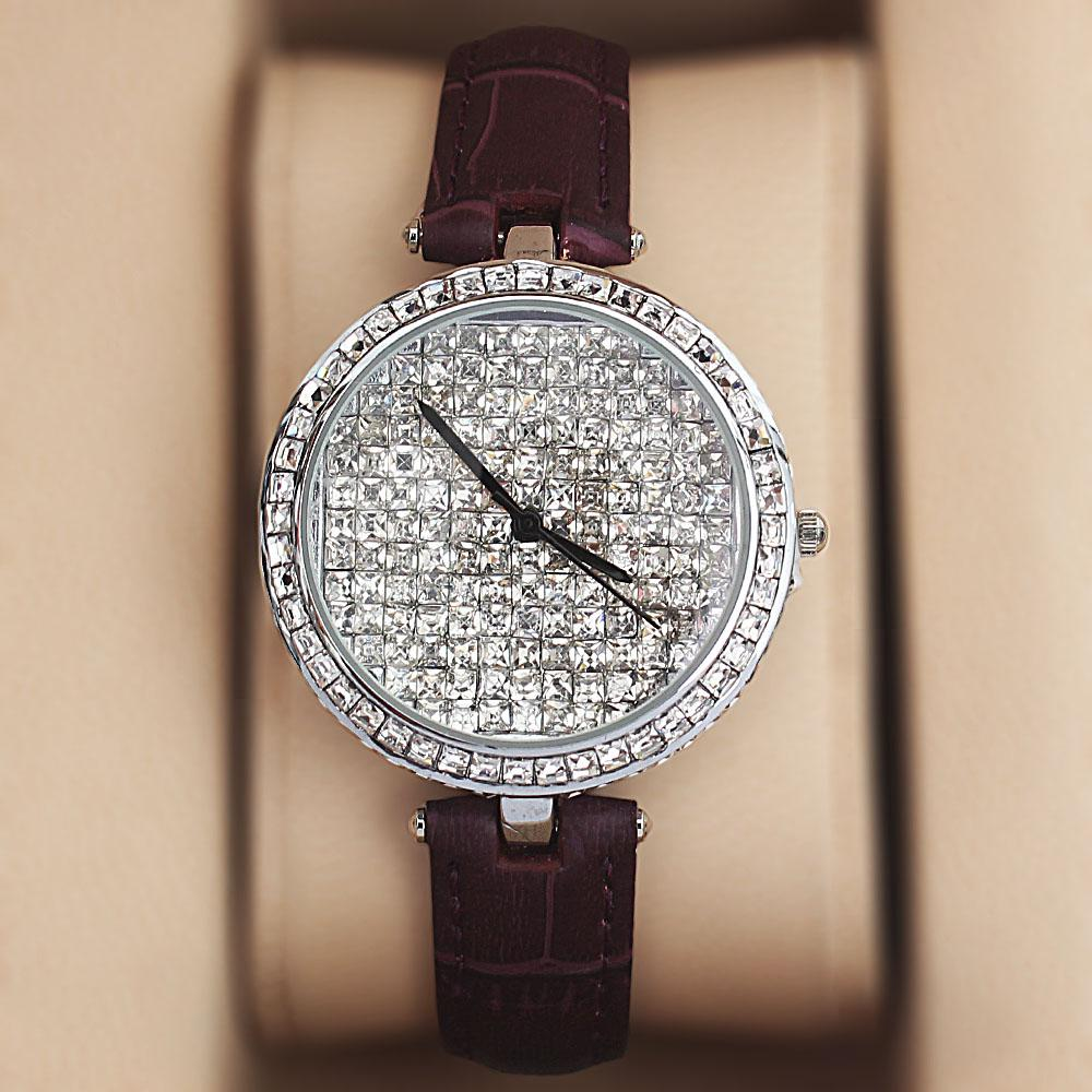 Silver Purple Crystal Ice Studded Leather Ladies Watch