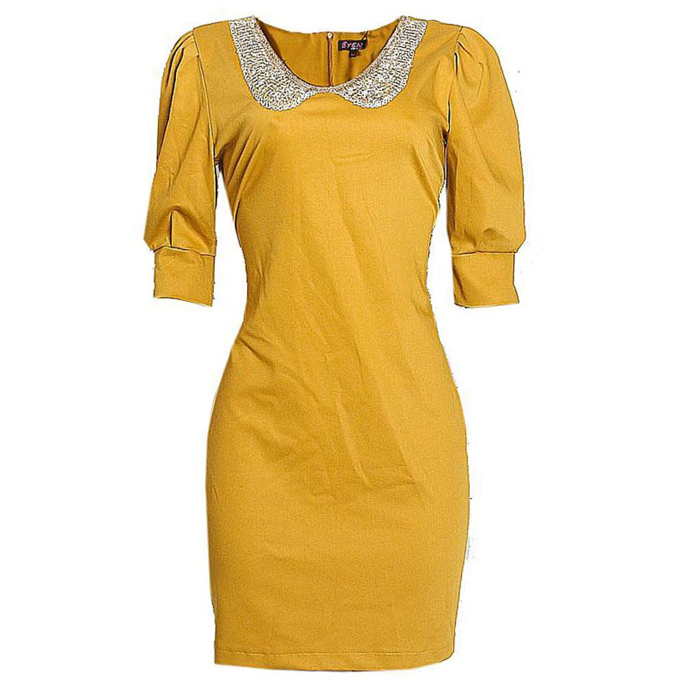Byen Deep Yellow Cotton Ladies Dress