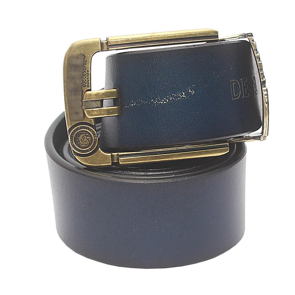 Navy Blue Brave Premium Leather Belt L 50 Inches