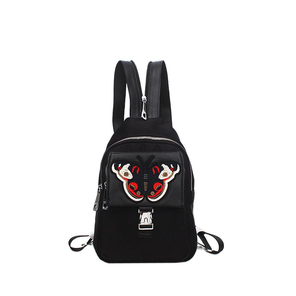 London Style Black Fabric Leather Butterfly Backpack