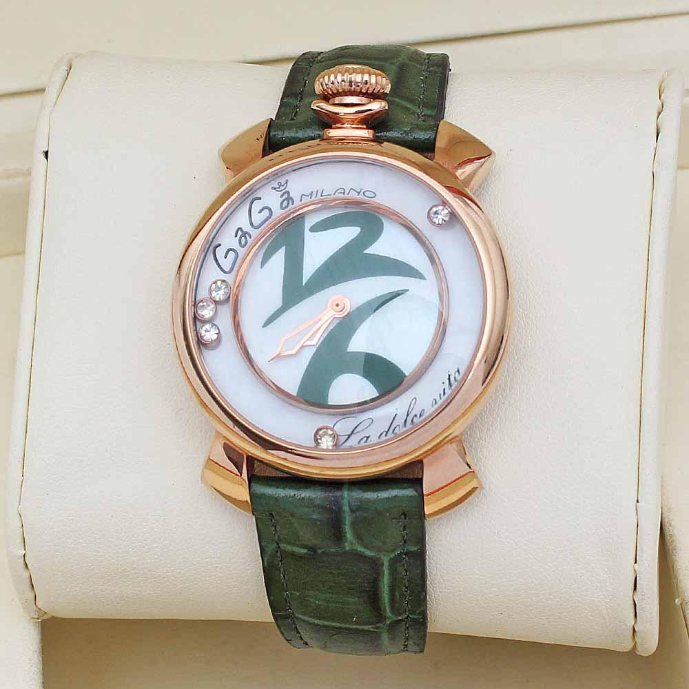 Green Leather Ladies Studded Watch