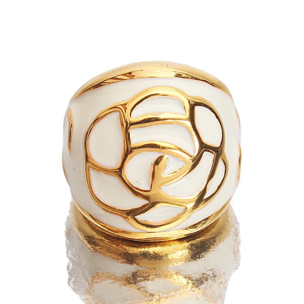 Gold Steel White Rose Ladies Ring