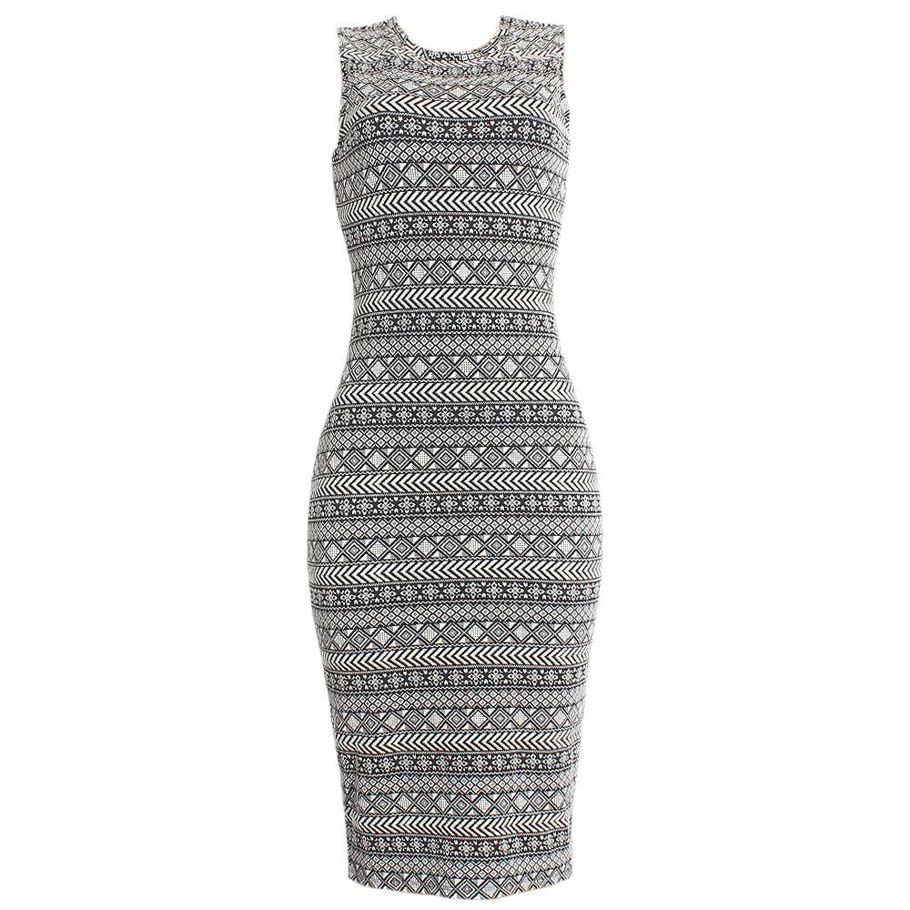 M&S Monochrome Sleeveless Bodycon Dress UK 8