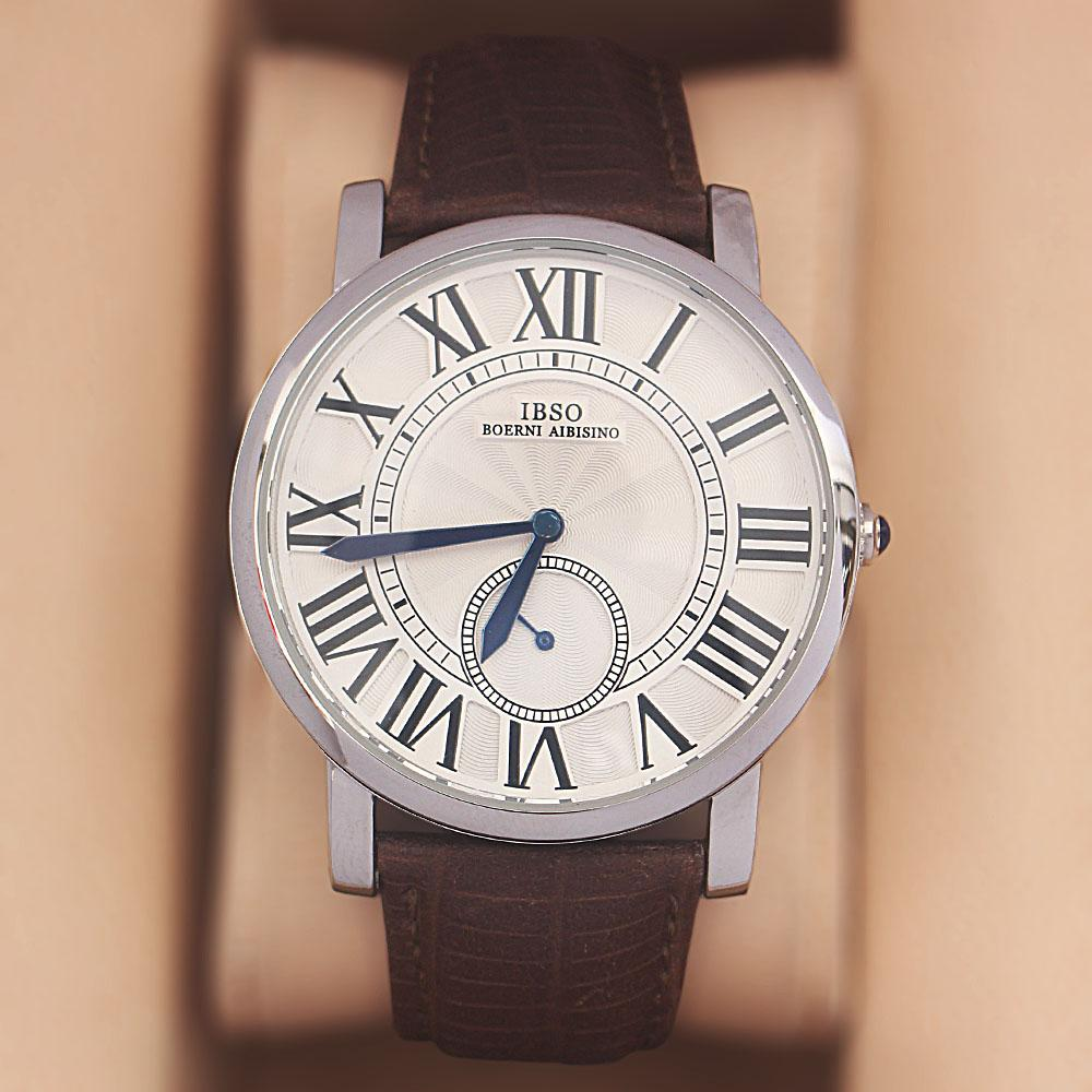 Coffee Etched Leather Classic Watch