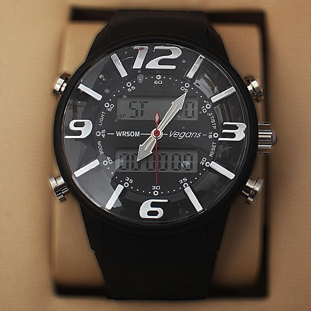 Vegans Black Rubber  Water Resistant 50M Analog Digital Watch
