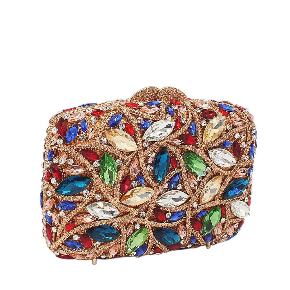 Gold Multicolored Crystal Mix Diamante Crystals Clutch Purse