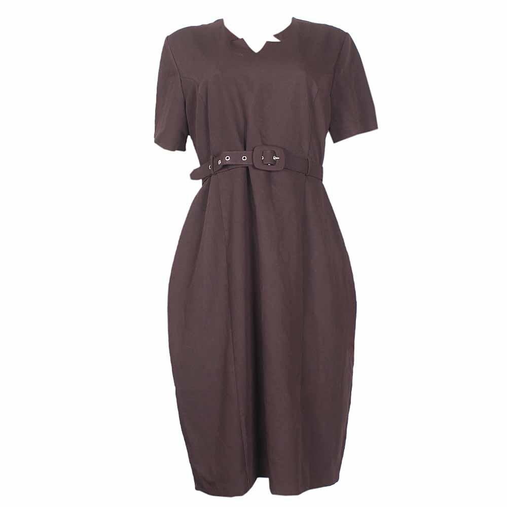 Rita  Deep Brown Ladies Dress With a Brown Belt -Eur46
