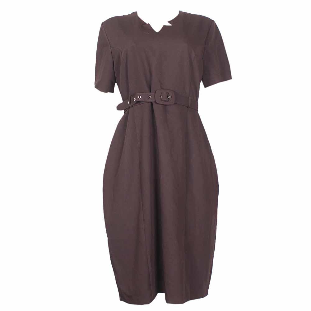 Rita  Deep Brown Ladies Dress With a Brown Belt -Eur46