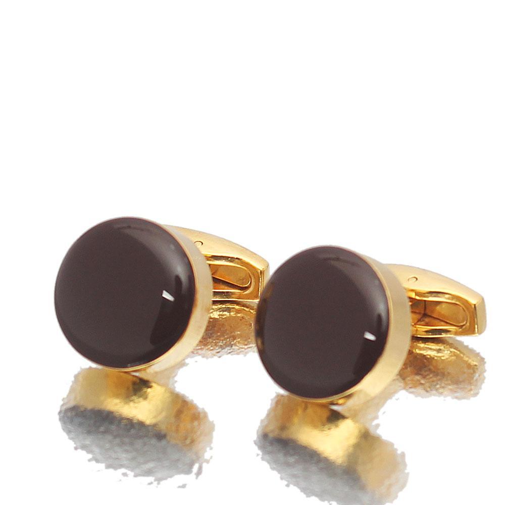 Gold Brown Pearl Stainless Steel Cufflinks