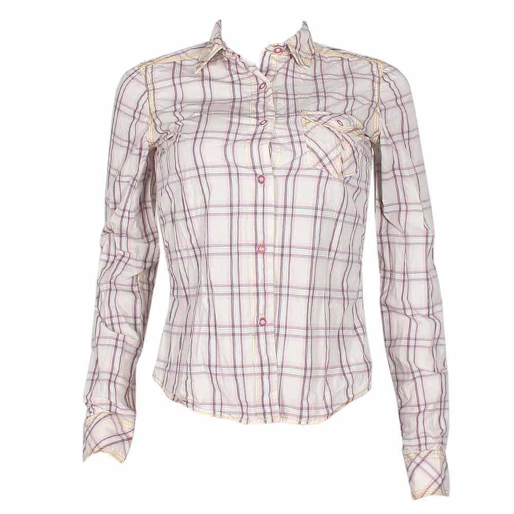 Guru Cream/Wine Check L/Sleeve Ladies Shirt