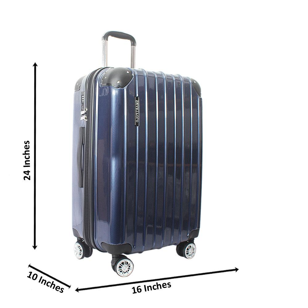 Blue 24 Inch Hardshell Medium Suitcase Wt TSA Lock