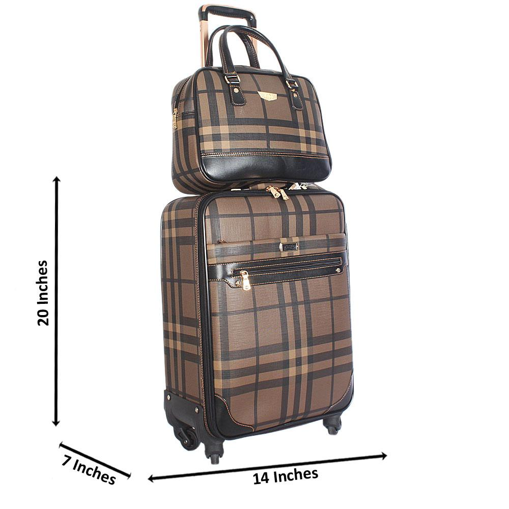 Brown 20 Inch Leather 2 in 1 Carry On Luggage Wt Lock