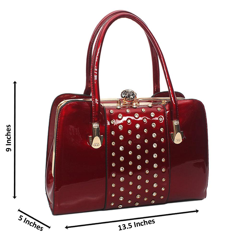 Wine Queenie Gold Studded Patent Leather Tote handbag