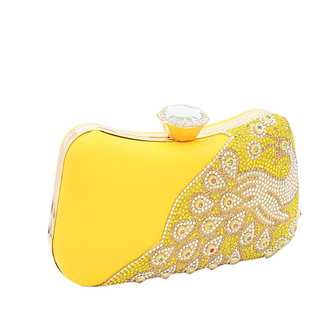 Yellow Ariel Evoke Studded Leather Clutch Purse