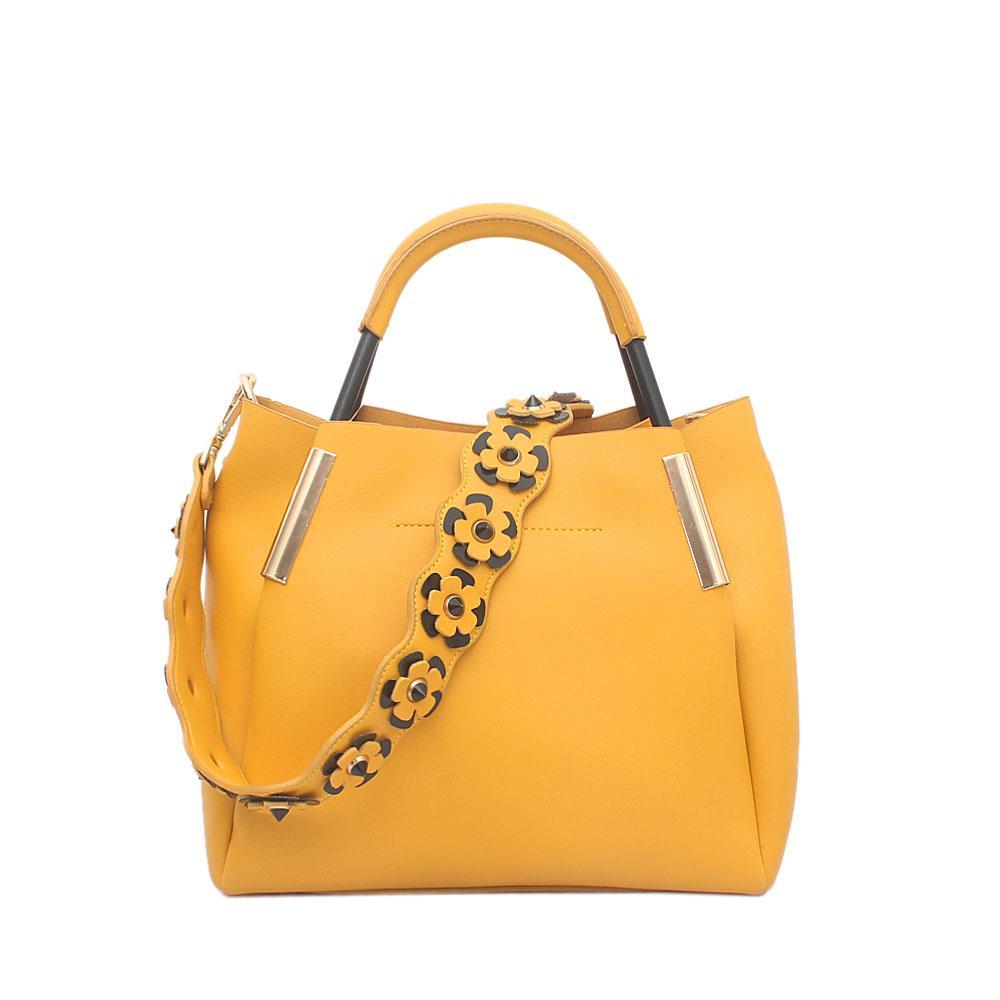 London Style Yellow Leather Handbag