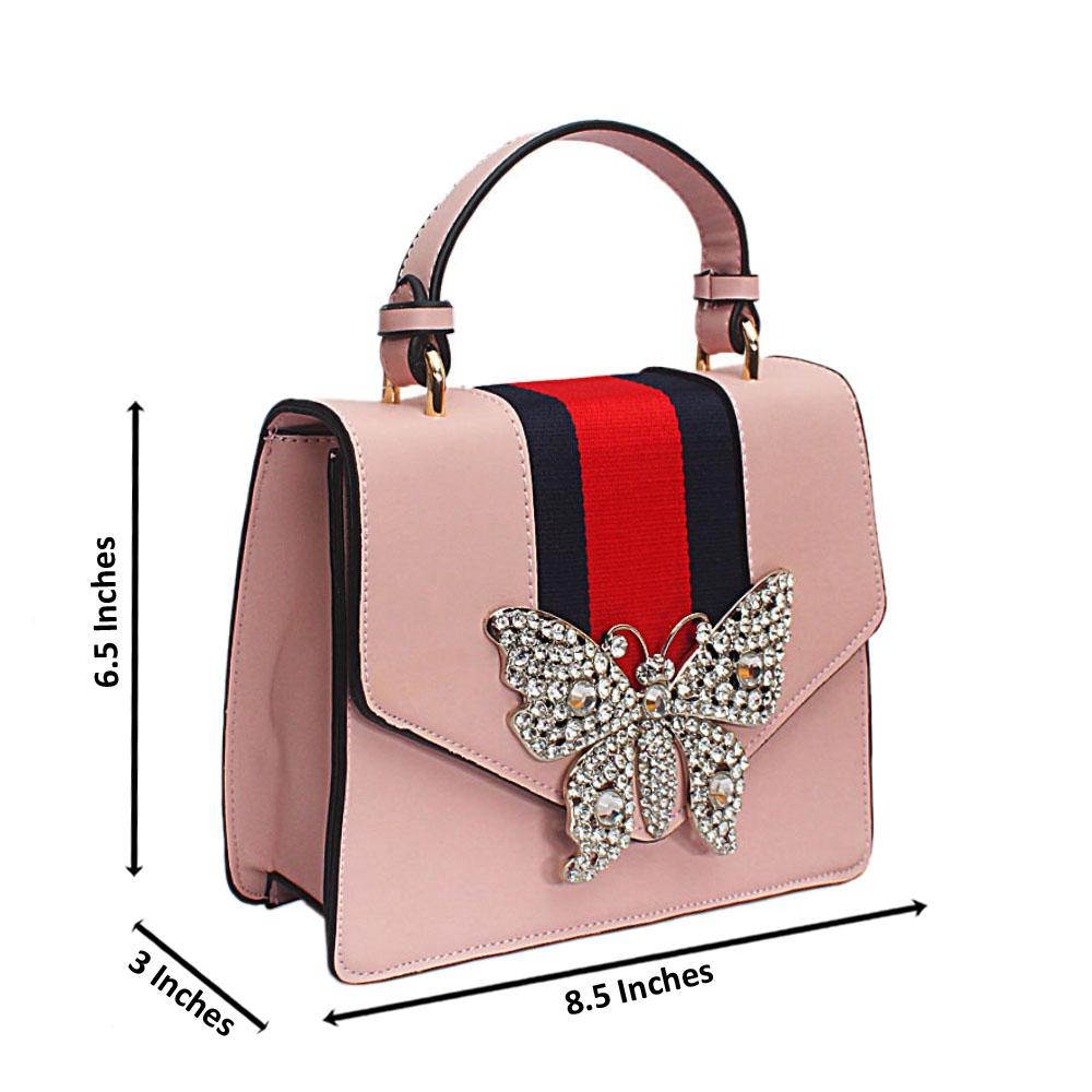 Pink Butterfly Studded Leather Mini Handle Bag